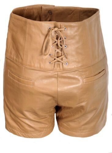 Cuir-Short Hot-Pants en véritable cuir ledershort-Shorts-Beige-Pour Femmes