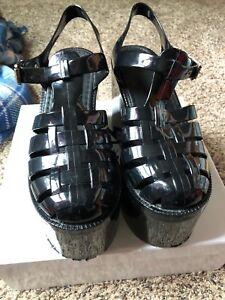 UNIF Womens Hella Jelly Platform Sandals Shoes Black Jellies Sz 9 US ...