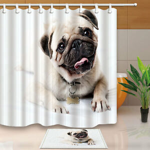 Image Is Loading Cute Pug Dog Shower Curtain Bedroom Decor Waterproof