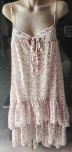 PETAL-amp-PUP-SNDYS-WHITE-AND-RED-FLORAL-TIERED-BOHO-MIDI-DRESS-TIE-UP-BUST-SIZE-S
