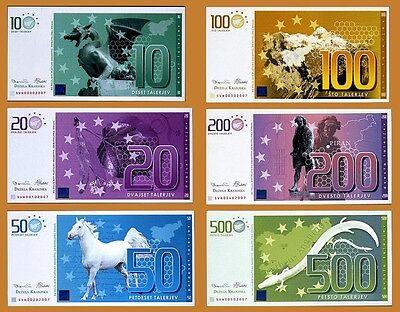 SET Slovenia, Private Issue, 10;20;50;100;200;500 Talerjev, 2007, UNC