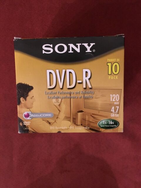 SONY DVD-R 10 PACK 120 MIN 4.7 GB RECORDABLE BLANK DISC W/ JEWEL CASE