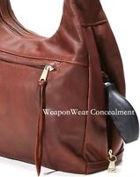 Coronado Leather Monterey Hobo Locking Concealed Carry Concealment Purse