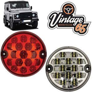 Land-Rover-Defender-95mm-LED-Red-Rear-Fog-Lamp-Clear-Reversing-Light-Upgrade-Kit
