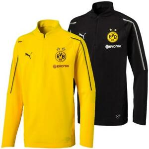 Puma-BVB-Borussia-Dortmund-Kinder-1-4-Zip-Training-Top-Langarm