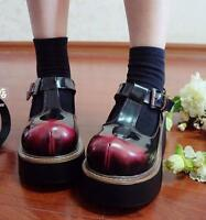 Fashion Womens Punk Gothic Shoes Creepers T-Strap Lolita Platform Buckle Pumps