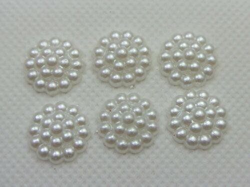 200 Pure White Acrylic Flatback Pearl Dotted Flower Bead Cabochon 13mm BowCenter
