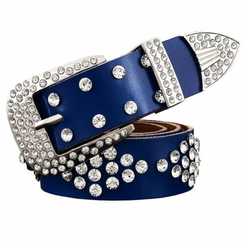 Leather Belts Women Luxury Belt Men With Pin Buckle Rhinestone Unisex Waist Belt