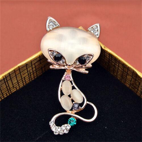 Gold gefüllt Opal Stein Fuchs Broschen Frauen Mode Tier Pin Brosche Schmuck