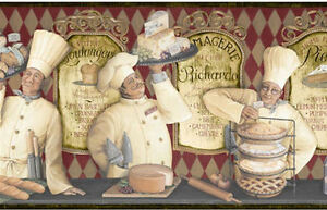 3-French-Chefs-Serve-Cheeses-Breads-amp-Pies-Wallpaper-Border-YUM-KB206643B