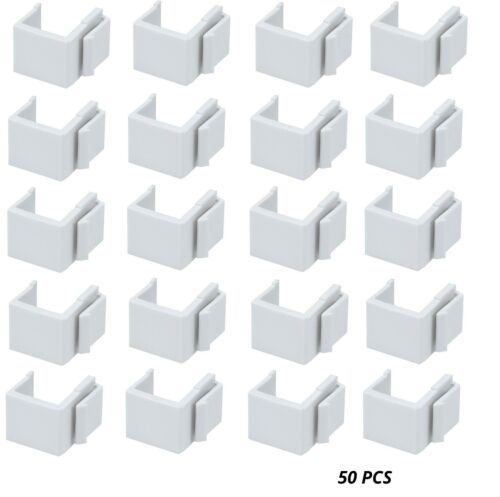 50 Pack White Blank Inserts for Keystone Plates//Panels Flat Plug Snap-in 50 pcs