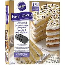 Wilton 4Pc Easy Layers 8 Inch Round Tier Cake Baking Tin Pan Wedding Decorating