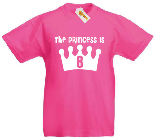 8th Birthday Gifts Xmas Presents For 8 Year Old Girls Princess is 8 NEW T-Shirt