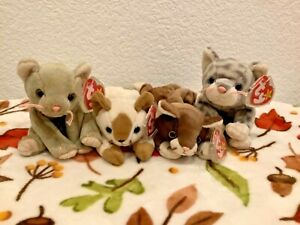 Retired TY Beanie Baby Kitty 4 pack; snip, scat, pounce, silver