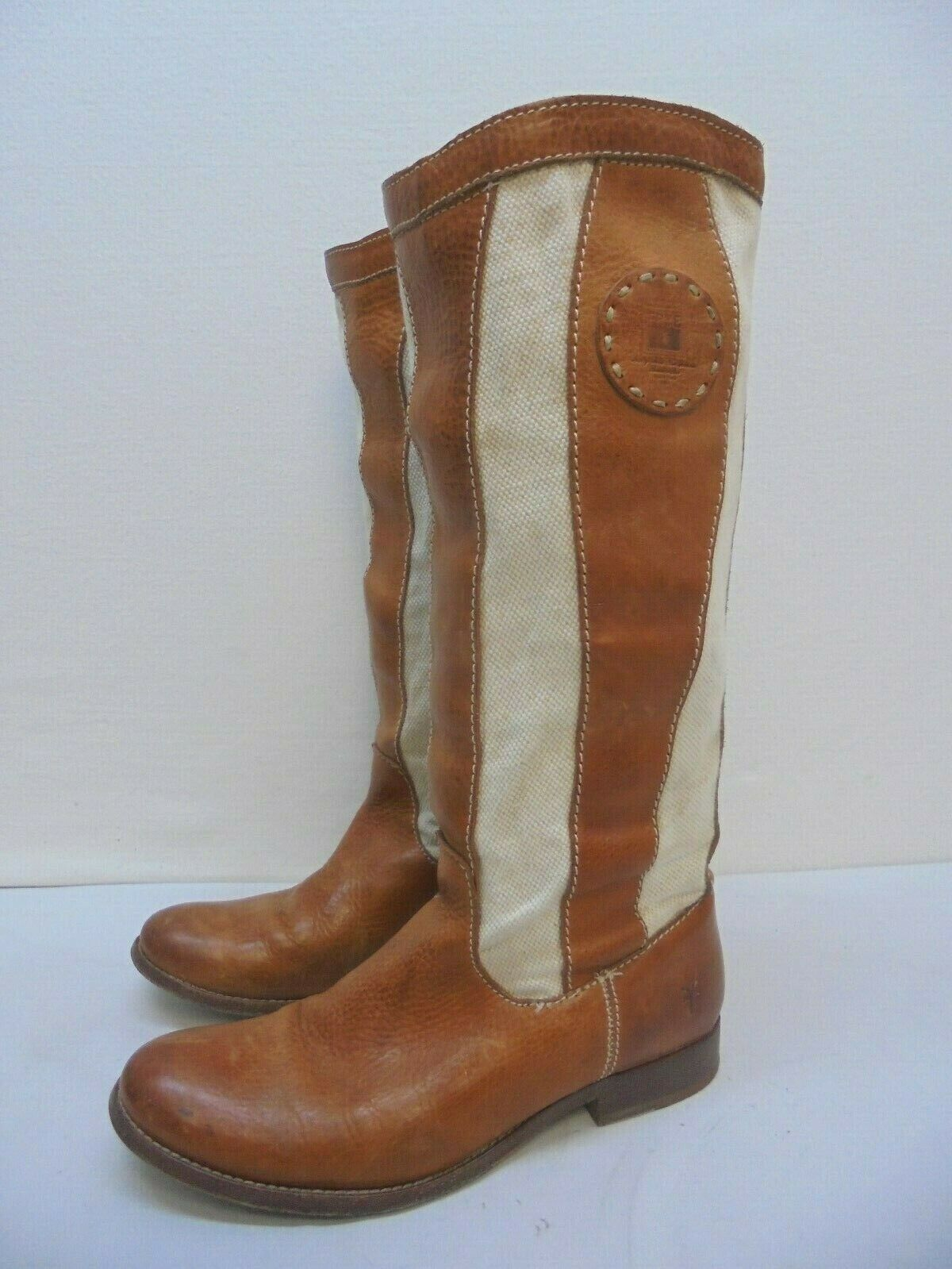 FRYE Brown Leather Canvas Melissa Cowboy Boots Women's Size 7.5 B Style 77117