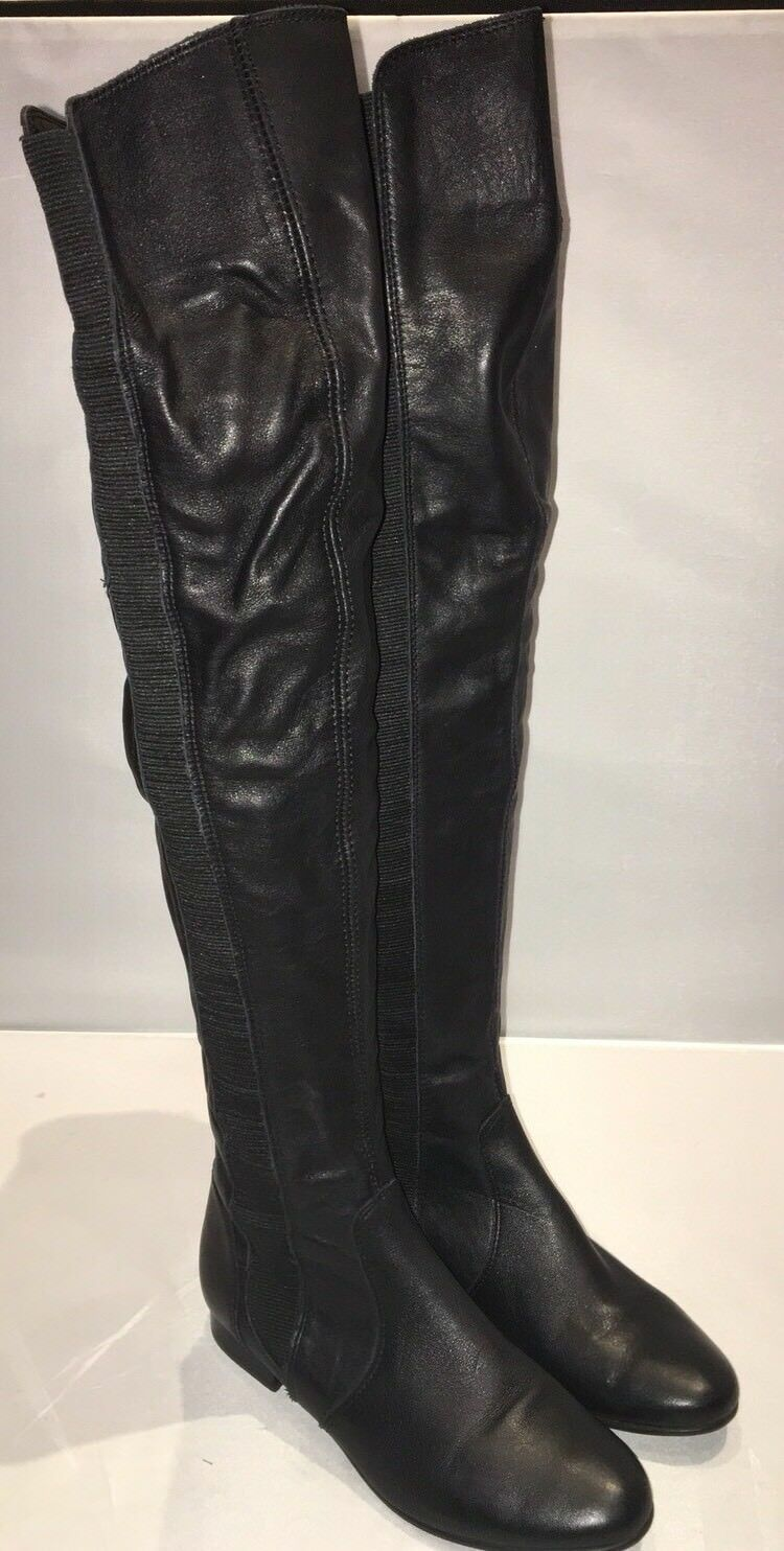 Hermoso Cuero Negro Sobre La La La Rodilla Botas Bertie, Talla 3, nuevo a806ce