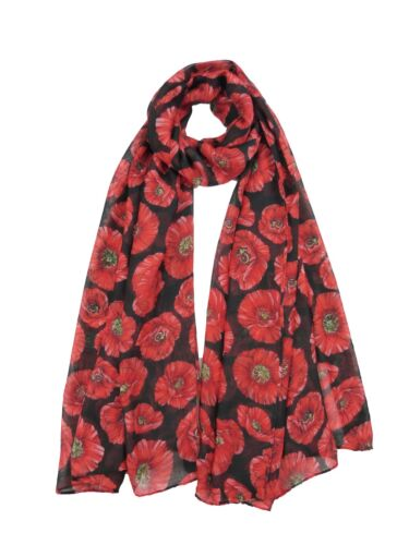 Black Red Poppy Flower Scarf Ladies Large Flowers Wrap Floral Print Shawl