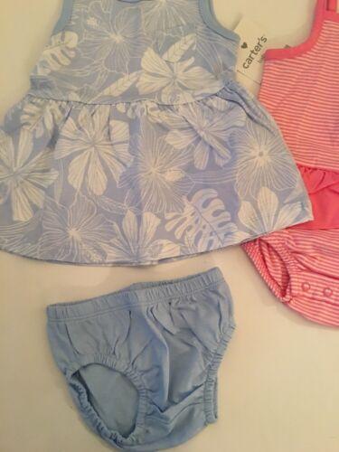 Carter/'s Girl Romper Sunsuit Dress Diaper Cover Size 3 12 24 Months Blue Pink