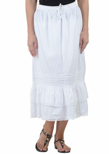 White Cotton Skirt Sizes Xs-XXXXL Skirt SK 92