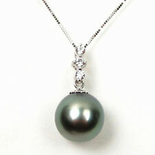 10-11mm Round Tahitian Black Pearl Pendant in 14K White Gold