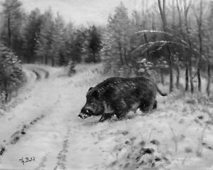 Jagdgemalde-Jagdmaler-Thomas-Bold-Wildschwein-034-KEILER-IM-WINTER-034