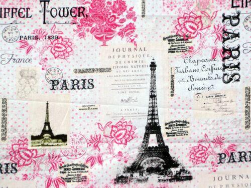 FAT QUARTER FABRIC PARIS EIFFEL TOWER FRANCE 100/% COTTON DAVID TEXTILES QUILTING