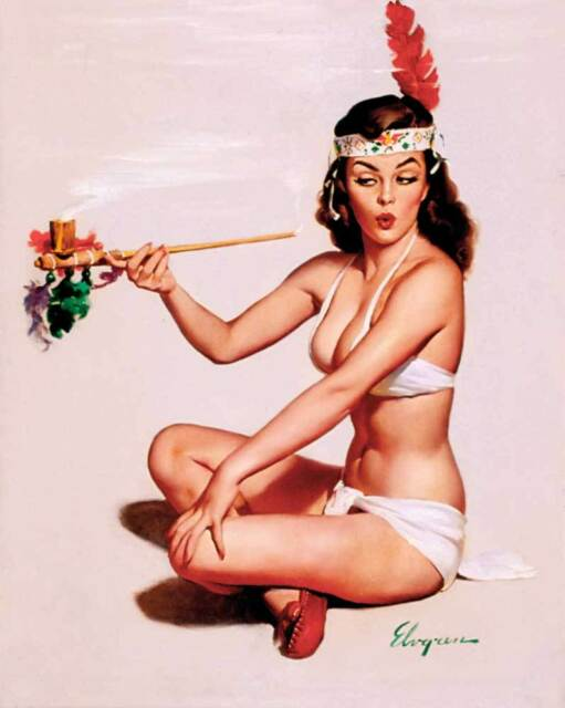 "VINTAGE PINUP GIRL Gil ELVGREN CANVAS ART PRINT Sexy Smoker 16""X 12"""