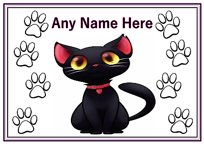 Cat Supplies Personalised A4 Black Cat Pet Feeding Food Water Dinner Mat Yellow Eyes Exquisite Craftsmanship;