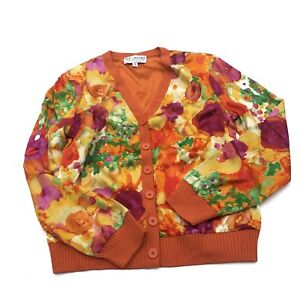 St-John-Collection-Orange-and-Multicolor-Abstract-Sweater-SIZE-8