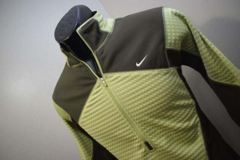 Friendly 42457 Womens Nike Therma Fit Performance Green Zip Neck Fleece Jacket Size Large Firm In Structure