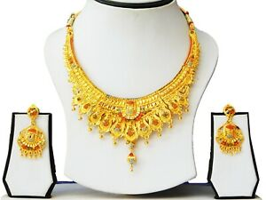 Ethnic-Indian-Bollywood-Gold-Plated-Necklace-Earrings-Set-Traditional-Jewelry-A