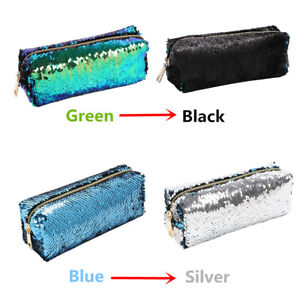 US-Reversible-2-Color-Cosmetic-Bag-Mermaid-Sequin-Handbag-Pencil-Pouch-Xmas-Gift