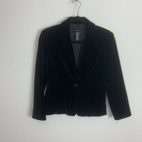 Bcbg black fitted velour blazer jacket Cocktail ,