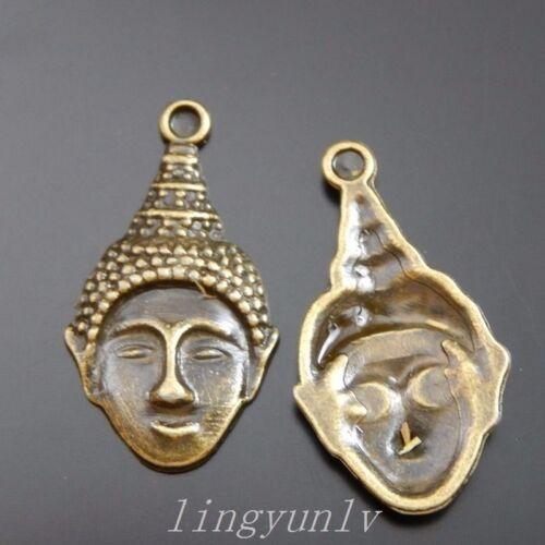 20pcs Antiqued Bronze Buddha Head Look Charms Pendants 28x15mm Jewelry 39946
