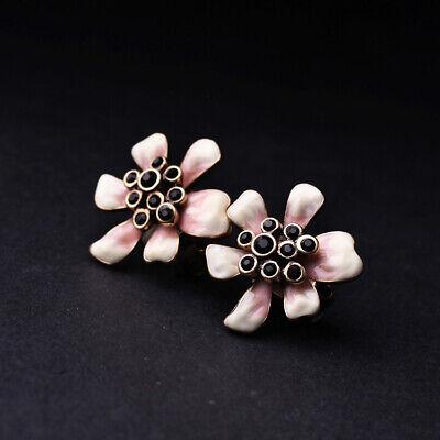 Boucles d/'Oreilles Clips Doré Puces Fleur Email Beige Rose Perle Noir Retro J6