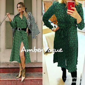 Zara-New-Long-Green-Black-Printed-Shirt-Dress-F-W-2020-Size-XS-S-M-L