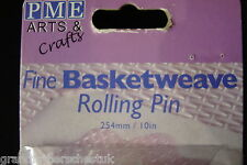 PME P.M.E. ARTS AND CRAFTS BRAND NEW UNUSED FINE BASKETWEAVE ROLLING PIN BAKING