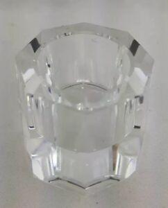 Oleg Cassini Crystal Votive Candle Holder Octagon Signed 100741