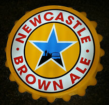 Rare NEWCASTLE BROWN ALE Golden Beer Bottle Cap ~White Neon Light ~Bar Wall Sign