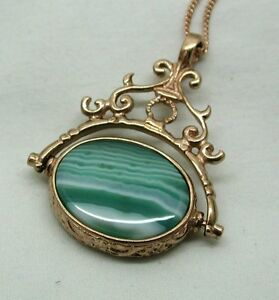 Lovely-Large-Ornate-9ct-Rose-Gold-And-Agate-Spinner-Fob-Pendant-And-Chain