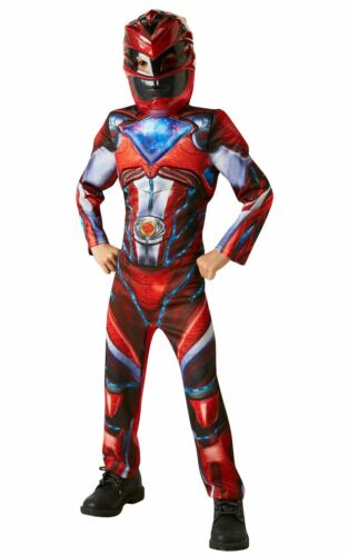 Boys Power Red Ranger Costume Kids Fancy Dress Licensed Outfit Movie Dressup