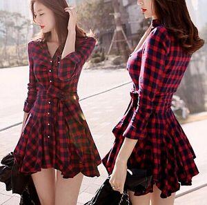 Elegant Womens Chic Pane Slim Dress Korean Fashion Skirt Lapel Long