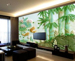 3D Jade Bamboo Pond 89 Wallpaper Mural Paper Wall Print Wallpaper Murals UK