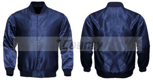 Letterman Baseball College Varsity Bomber Quality Sports Jacket Navy Blue Satin