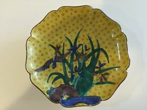 Image Is Loading Vintage Kutani Hand Painted Yellow Decorative Wall Plaque