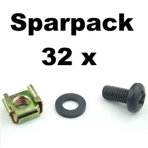 32 x Rackschraube M6 x 12 Gewindeschraube + U-Scheibe + Käfigmutter Stahlschiene