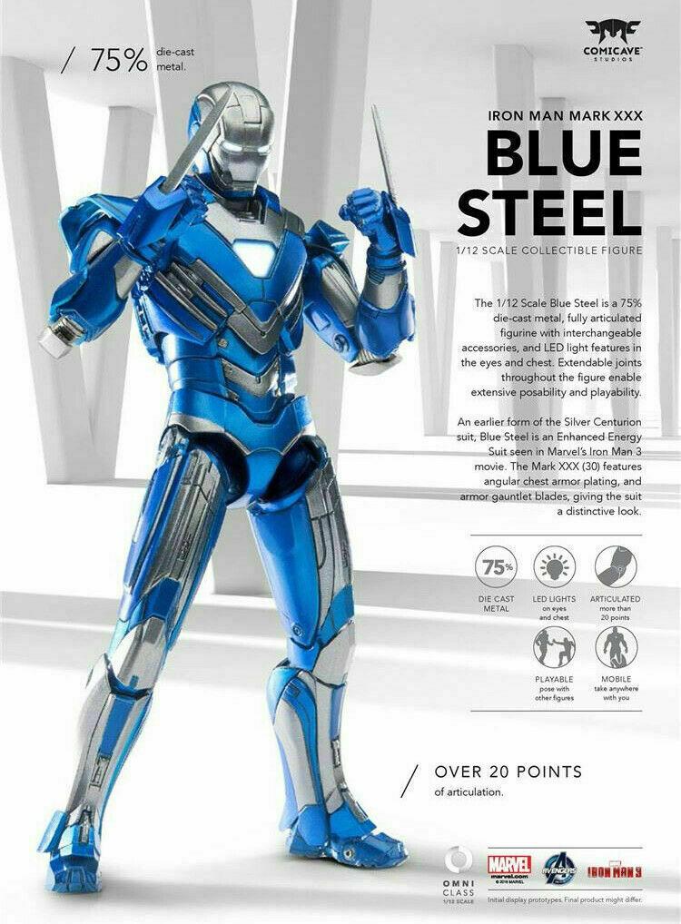 1 12 comicave MK30 Iron Man luz LED flexible de acción figura modelo Azul Modelo