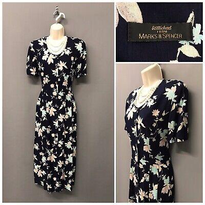 Luminosa St Michael M&s Blu Marino Floreale Dress Retrò Uk 10 Eur 38 Us 6-mostra Il Titolo Originale Con Il Miglior Servizio