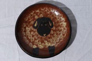 "Eldreth Signed 2003 Redware Pottery Serving Bowl Sheep 11.75"""