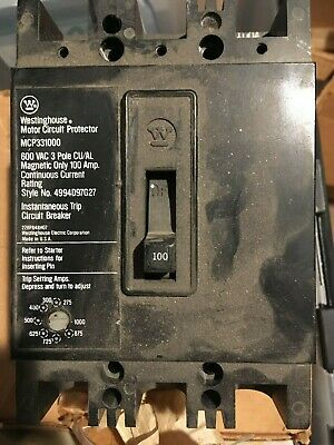 Westinghouse Motor Circuit Protector MCP331000RC 100 Amp 600 Volt 3 Pole